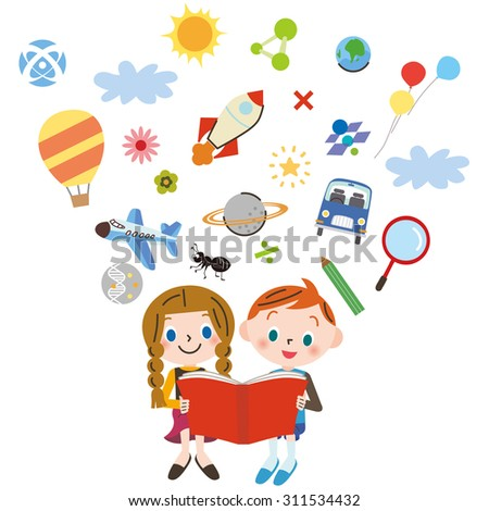 child who reads a book - stock vector