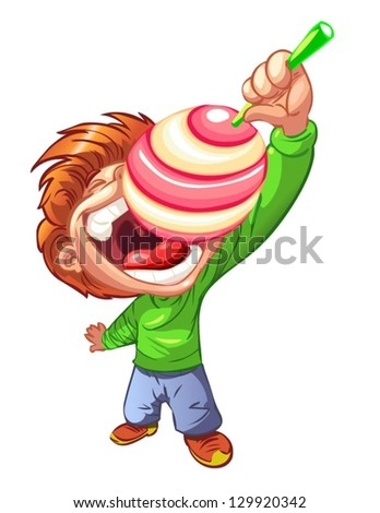 child with a lollipop - stock vector