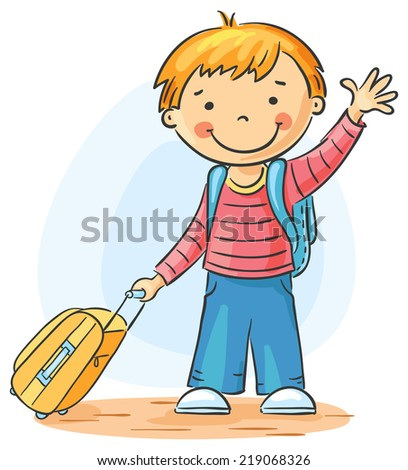 child with a suitcase and backpack is leaving and waving goodbye - Cartoon Picture Of A Child