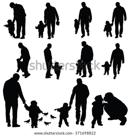 child with father illustration silhouette - stock vector