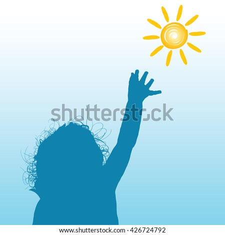 child with sun silhouette illustration in colorful - stock vector