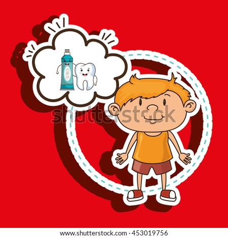 child with tooth isolated icon design, vector illustration  graphic