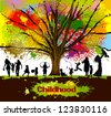 childhood. colorful tree - stock photo