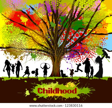 childhood. colorful tree - stock vector