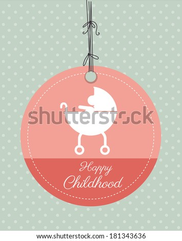 childhood design over dotted blue background vector illustration - stock vector