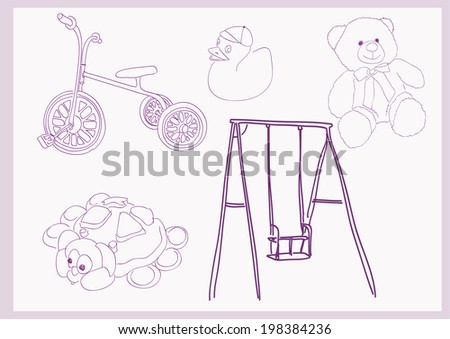 childhood - game set on background - stock vector