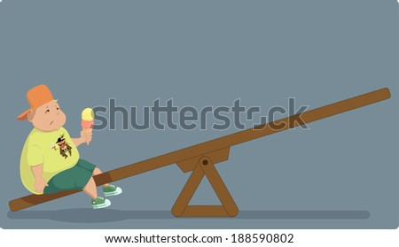 Childhood obesity. Overweight boy sitting alone on a seesaw - stock vector