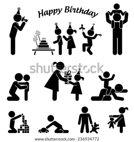 Childhood vector set. Pictogram icon set. Children birthday party.  - stock vector