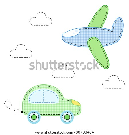childish aircraft and carfor applique - stock vector