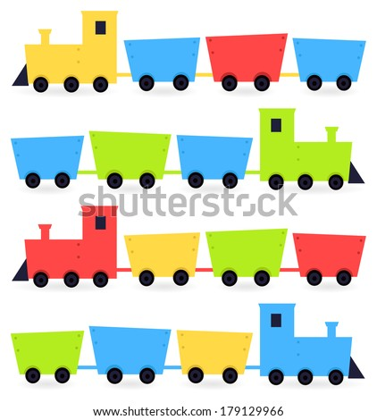 Childish cartoon colorful trains isolated on white - stock vector