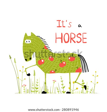 Childish Colorful Fun Cartoon Horse in Grass Field. Funny animal illustration for children. Vector EPS10. - stock vector