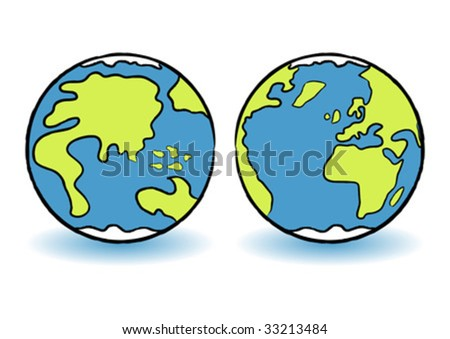 Childish colorful terrestrial globes over white background