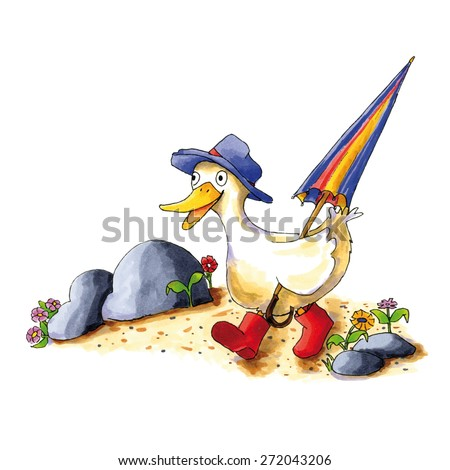 Childish funny duck illustration with boots and umbrella - stock vector