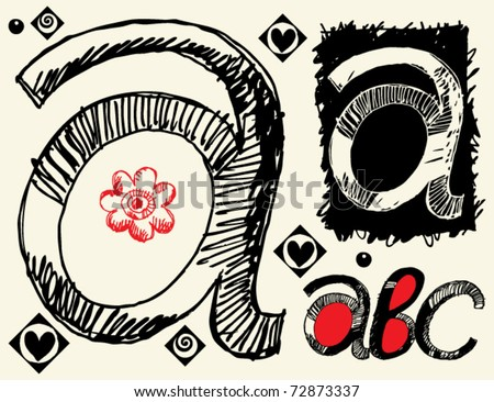 childish hand drawn alphabet, crazy doodle A - stock vector