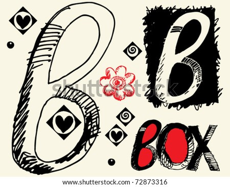 childish hand drawn alphabet, crazy doodle B - stock vector