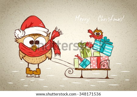 childish joy christmas card, funny bird skating sled with many gift boxes and little joy bird, vector illustration - stock vector
