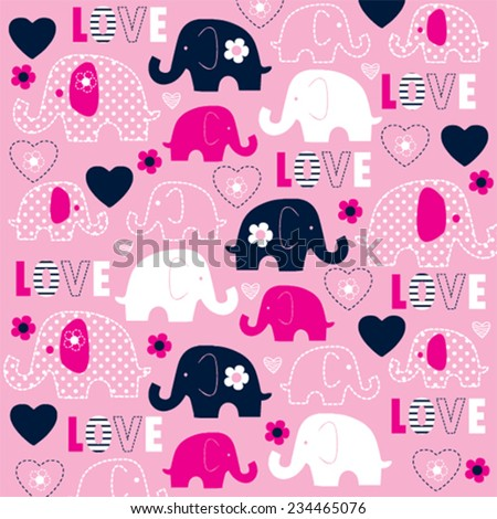 childish pattern with elephant and heart vector illustration - stock vector