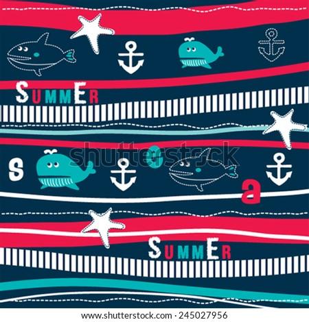 childish pattern with fish vector illustration - stock vector