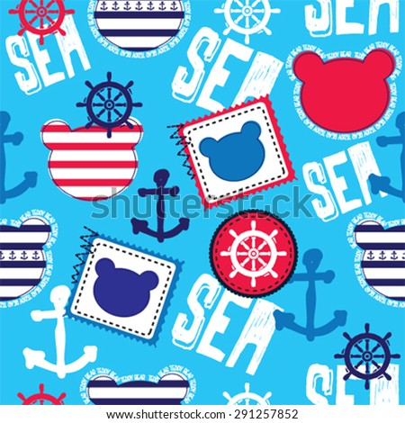childish pattern with teddy bear, sea and nautical seamless pattern vector illustration