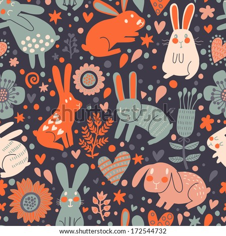 Childish rabbits in hearts and flowers. Cute childish seamless pattern in cartoon style. Seamless pattern can be used for wallpapers, pattern fills, web page backgrounds, surface textures - stock vector