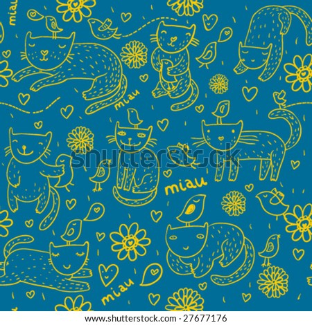 Childish seamless pattern with cartoon pets on it - stock vector