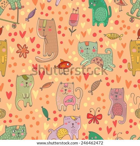 Childish seamless pattern with cats and fish in vector. Seamless pattern can be used for wallpapers, pattern fills, web backgrounds,surface textures. Gentle childish wallpaper - stock vector