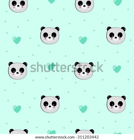 Childish seamless pattern with cute pandas - stock vector