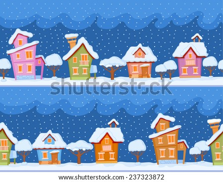 Childish seamless pattern with little snow-covered houses and trees. The evening comes and the snow falls