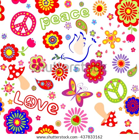 Childish seamless wallpaper with colorful abstract flowers, hippie symbolic, mushrooms and dove - stock vector