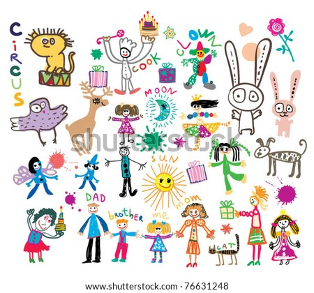 childish style picture - stock vector