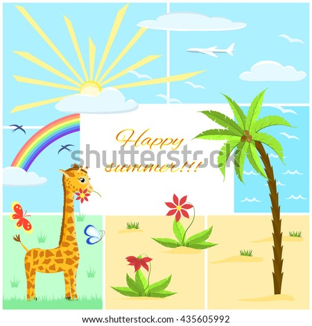 childish summer seamless pattern with giraffe, palm tree, flowers,  butterfly, seagull and sun   on square background, vector illustration - stock vector