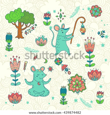 childish vector background with forest glade. doodle illustration with tree, flowers and cute cartoon characters - stock vector
