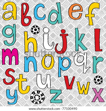 childlike ABC - stock vector