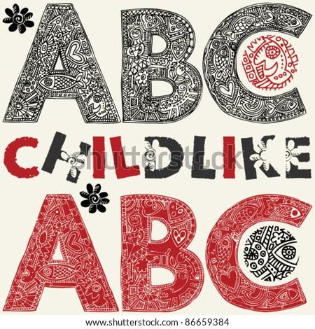 childlike ABC - stock vector