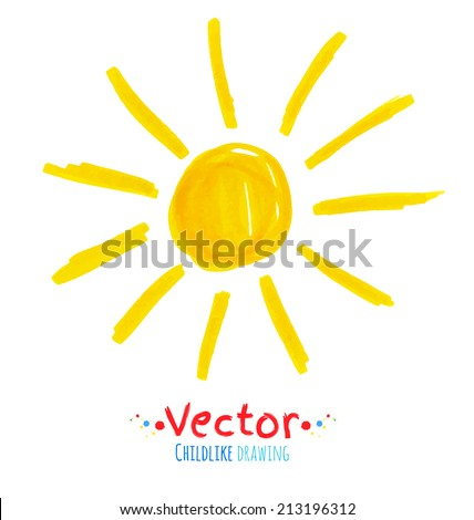 Childlike drawing of sun. Vector illustration. Isolated. - stock vector