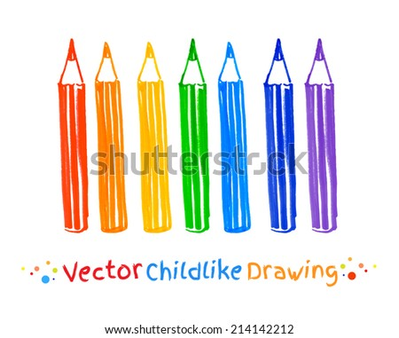 Childlike felt pen drawing of . Vector illustration. Isolated.