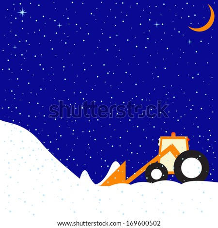 Childlike illustration of snowy winter evening with clear sky, stars and moon and little funny tractor
