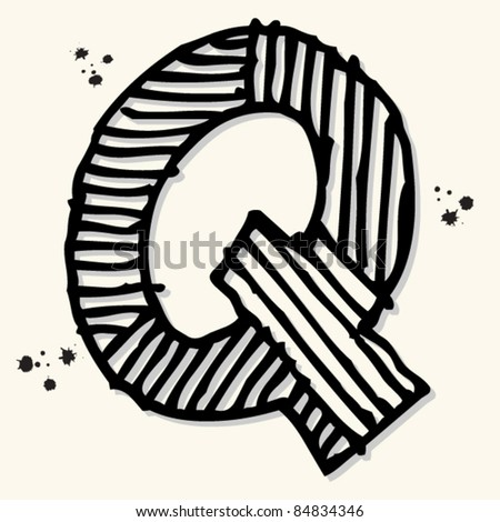 childlike ink alphabet, hand drawn letter Q