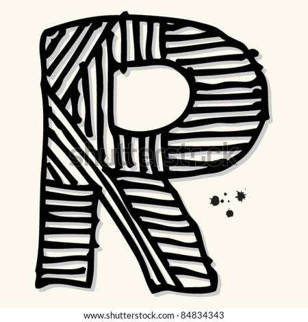 childlike ink alphabet, hand drawn letter R