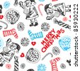 childlike seamless doodles, scribble Christmas design elements - stock vector