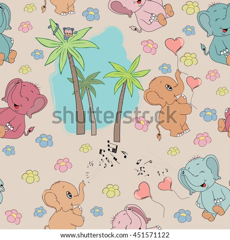childlike seamless pattern with cute elephant. vector illustration - stock vector