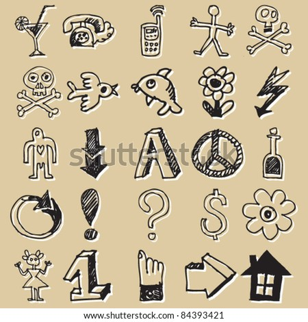 childlike sketchy icons, hand drawn design elements - stock vector