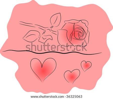 childlike watercolor flowers (rose) and pink background