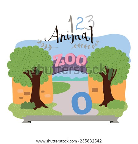 Children alphabet of animals and figures. Digit zero. Vector illustration. Part of a large set of vector numbers and animals - stock vector