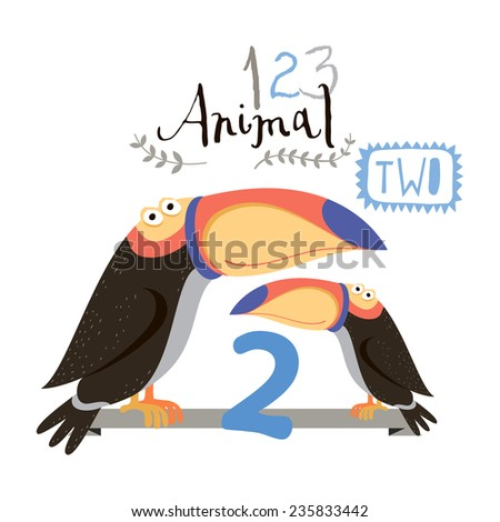 Children alphabet of animals and figures. Two figure. Vector illustration. Part of a large set of vector numbers and animals - stock vector