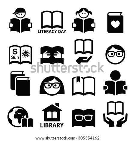 Children and adults reading books, International Literacy Day icons  - stock vector