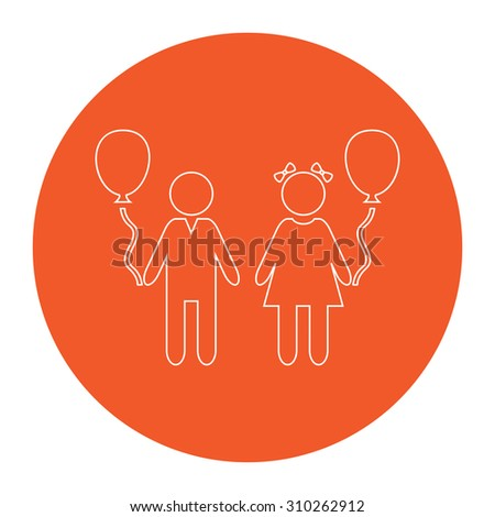 Children and Balloon. Flat outline white pictogram in the orange circle. Vector illustration icon - stock vector