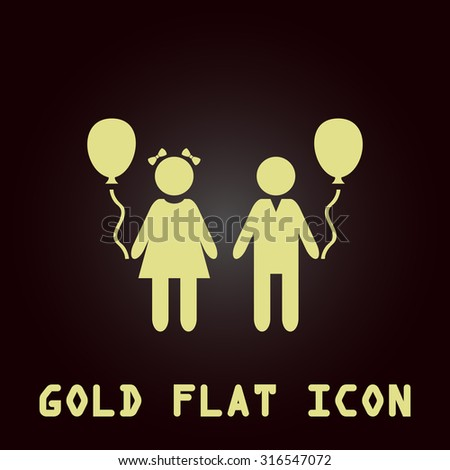 Children and Balloon. Gold flat vector icon. Symbol for web and mobile applications for use as logo, pictogram, infographic element - stock vector