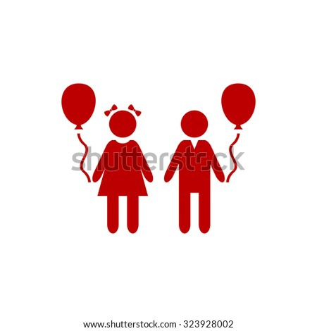 Children and Balloon. Red flat icon. Vector illustration symbol - stock vector