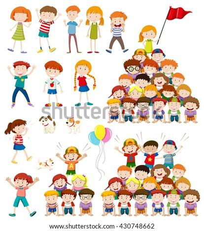 Children and human pyramid illustration - stock vector